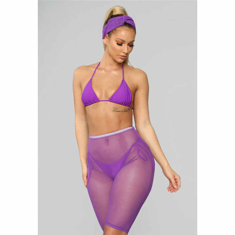 4c068a4a31 ... Sexy Women See-through Shorts Bikini Cover Up Mesh Solid Sheer Trousers  Bottoms Swimsuit Swimwear ...