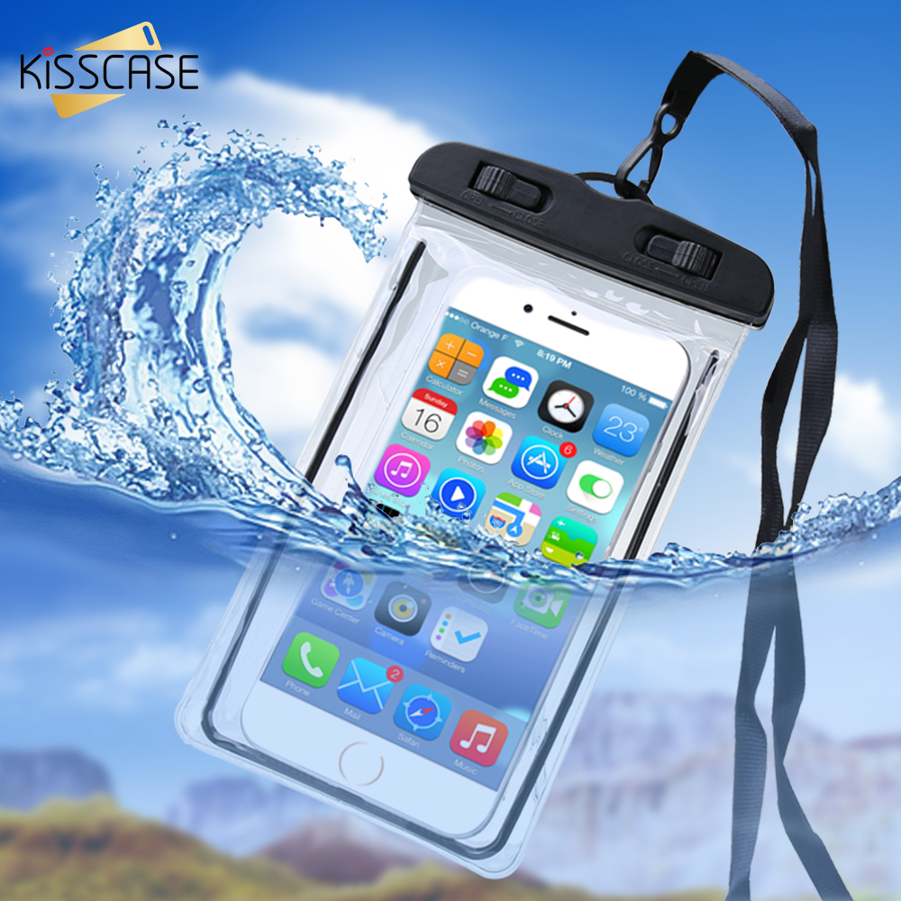 KISSCASE Waterproof Case For Xiaomi Mi8 Mi 9 8 A2 Lite Luminous Underwater Phone Case For Redmi Note 7 5 6 Pro Water Proof Bag(China)