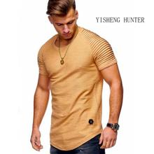 2019 New pattern Fashion Men T-shirt Pure color design of stripe ruffle sleeve Tee t Shirt Slim Short Sleeve O-Neck Tops thsirt stripe pattern patch t shirt