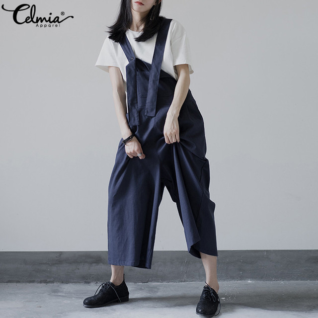 83a785dcc904 Celmia Plus Size Dungarees Summer Women Strap Jumpsuits Wide Leg Trousers  2018 Overalls Loose Romper Casual Bib Playsuits Mujer