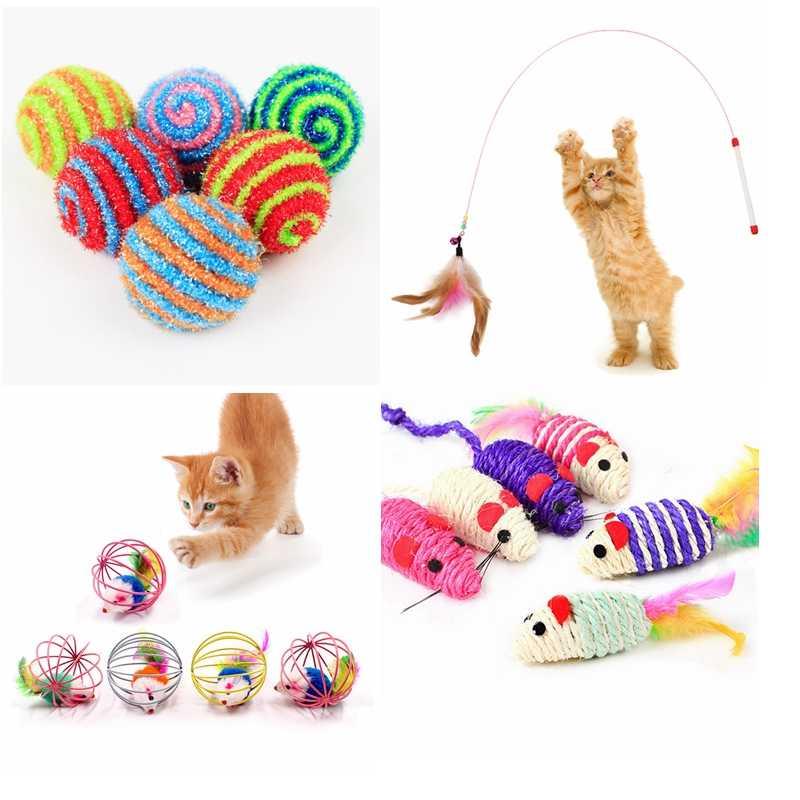 Кошка интерактивные игрушки Stick Игрушка с перьями с небольшой колокол мышиная клетка игрушки Пластик искусственные красочные Котик-тизер игрушечные домашние питомцы