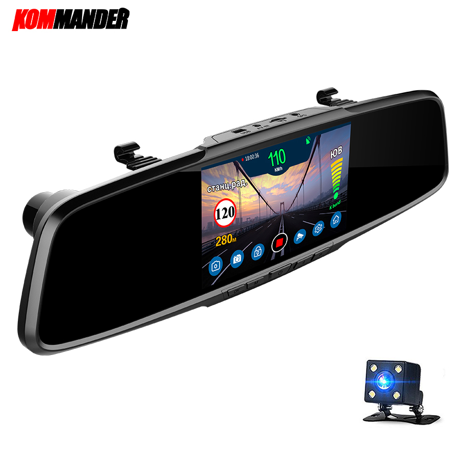 Kommander <font><b>Mirror</b></font> Radar Detector Anti Radar <font><b>CAR</b></font> Detector with <font><b>GPS</b></font> 3 in 1 <font><b>DVR</b></font> Full HD 1080P <font><b>Recorder</b></font> Camera Rear View for Russia image