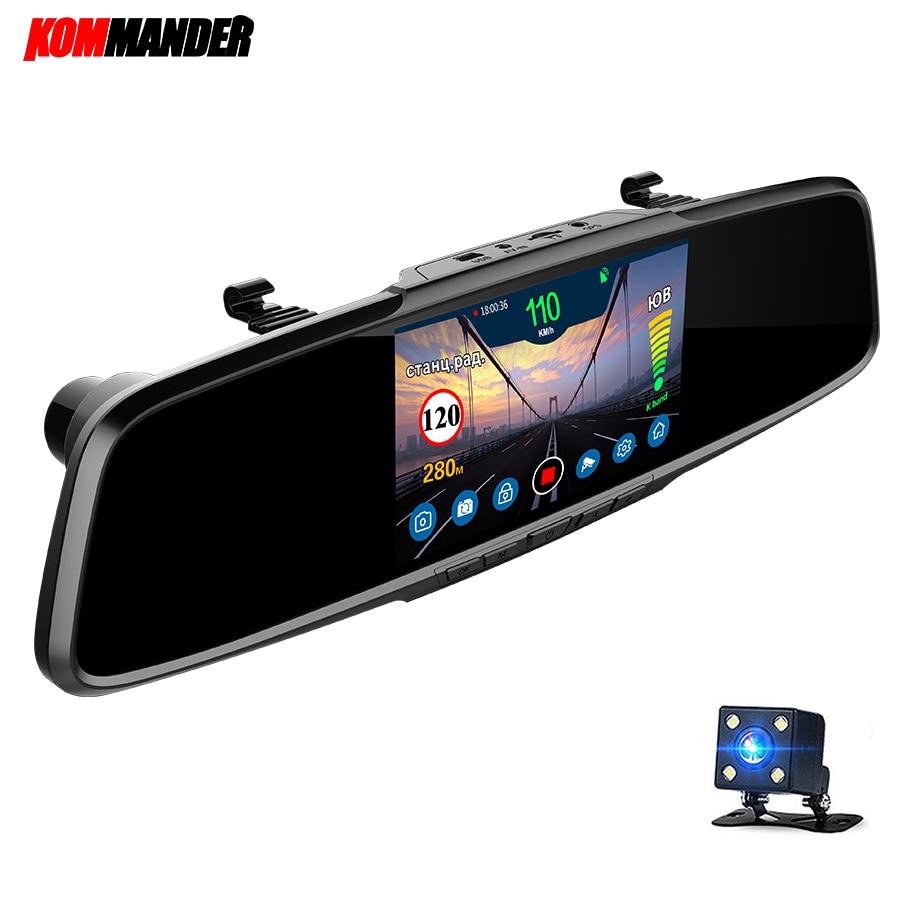 Kommander miroir Radar détecteur Anti Radar voiture détecteur avec GPS 3 en 1 DVR Full HD 1080 P enregistreur caméra vue arrière pour la russie