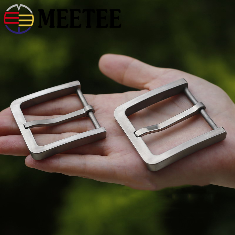 Meetee Solid Pure Titanium Pin Belt Buckles Harmless To Skin for Men Jeans Clothing Accessories Leather