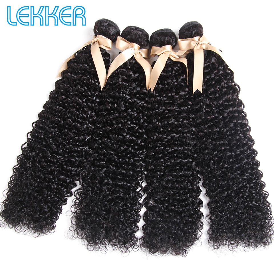 Lekker Jerry Curl Indian 4 PCS Curly Hair Bundles 100% Human Hair Extensions Hair Curly Bundles 4 Bundle Deals Natural Color
