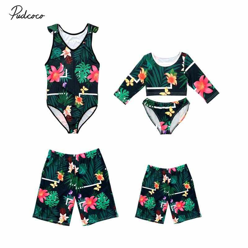 425cf146cb 2019 New Summer Family Siamese Swimwear Bikini Dad Son Mom Daughter Matching  Beach Women Men Boy