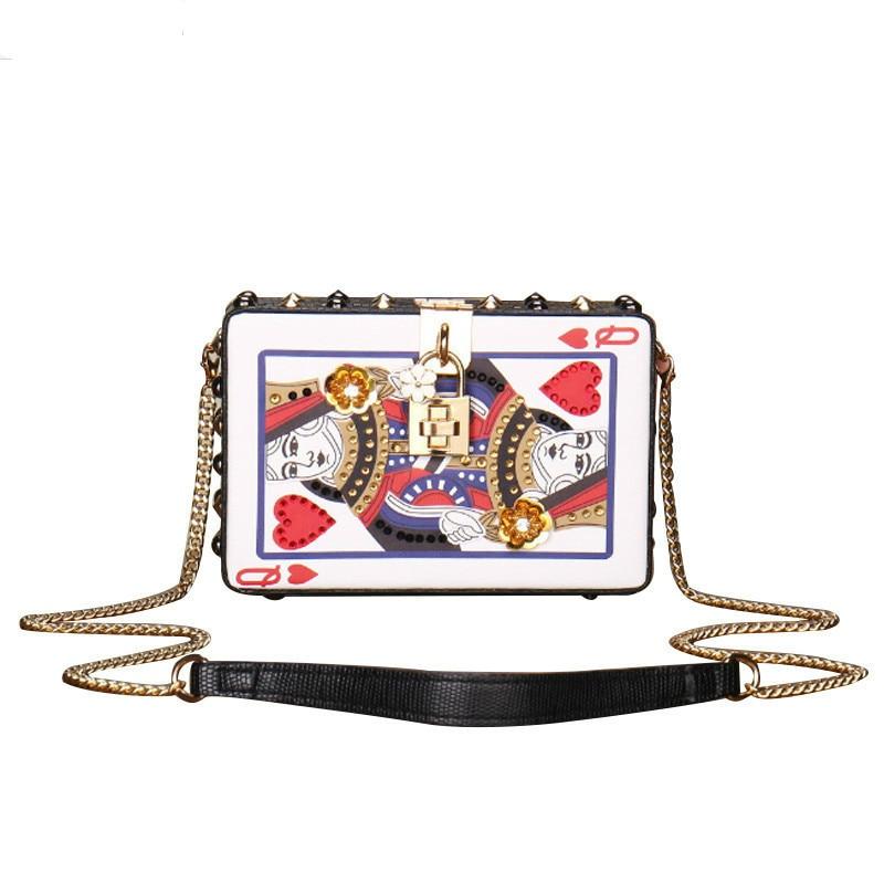 Telastar Playing Cards Women Bag Cute Hearts Poker Pattern Q Box Messenger Bags Evening Clutch Chains