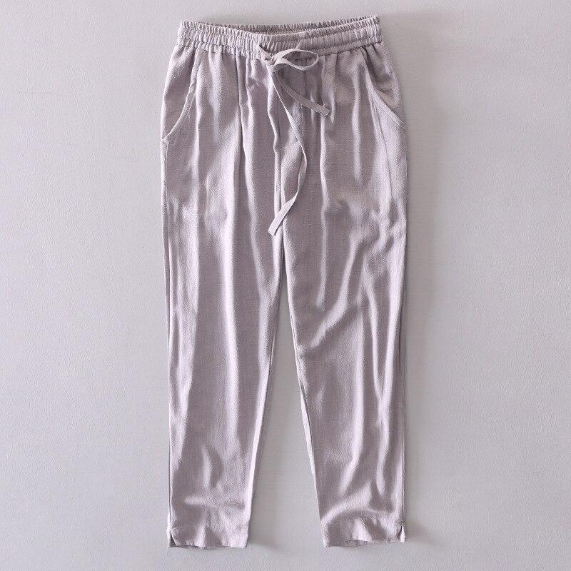 #4738 2019 Frühjahr Dünne Baumwolle Leinen Harem Hosen Männer Elastische Taille Plus Größe Lose Einfarbig Retro Casual Hosen Durchsichtig In Sicht
