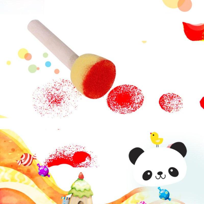 Sponge Wooden Brushes Paint Brush School Supply Sponge Kids Children Toys 5Pcs/set Drawing Painting Accessories Graffiti Tools