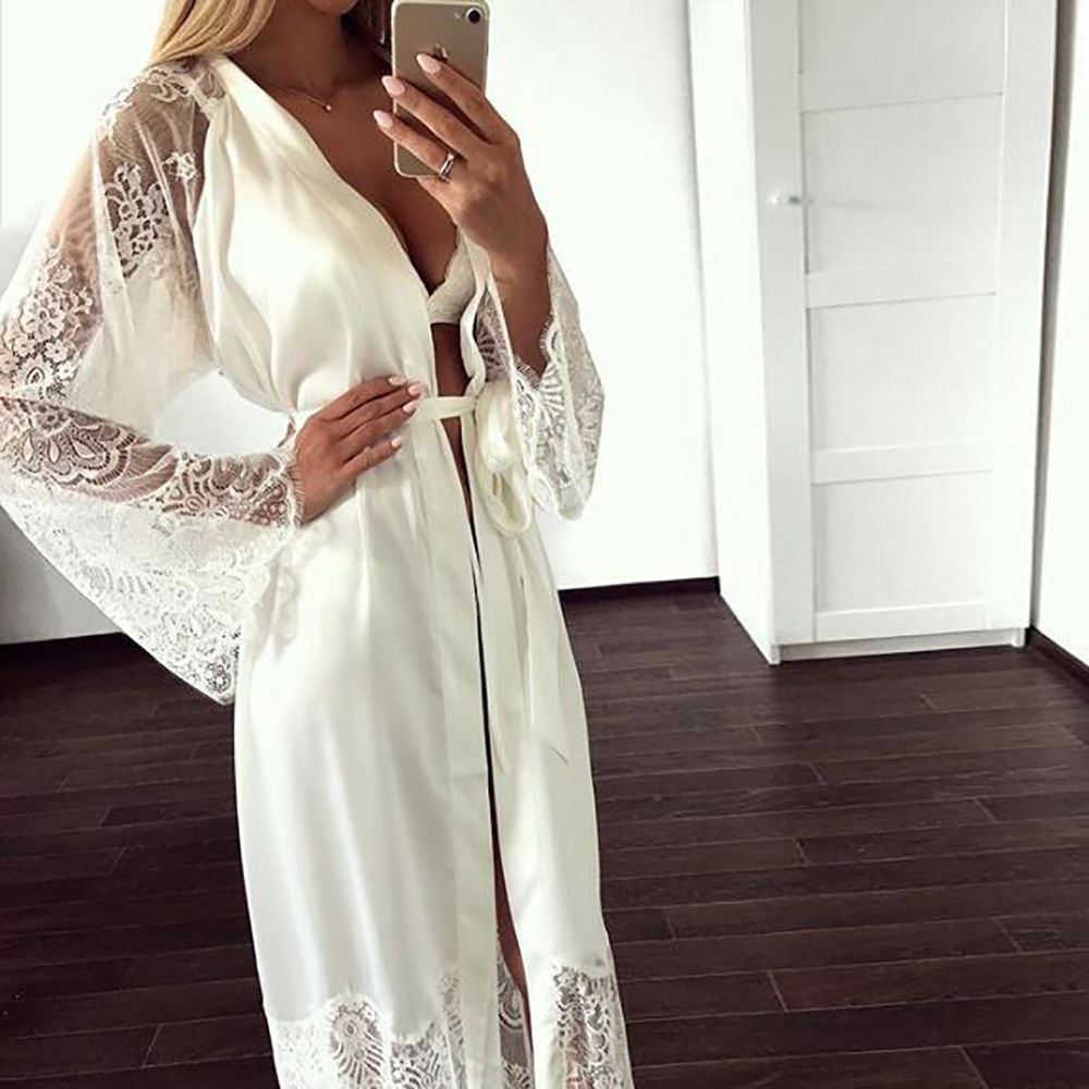 Fashion Sexy Pajama Dress Lingerie With Robe Long Sleeve Lace Nightgown With Belt Sleepwear Satin Women Bridesmaid Bathrobe
