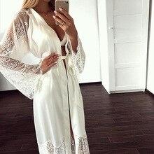 Plus size Sexy Pyjama Jurk Lingerie met Robe Lange Mouw Kant Nachtjapon met Riem Nachtkleding Satijn Vrouwen Bruidsmeisje Badjas