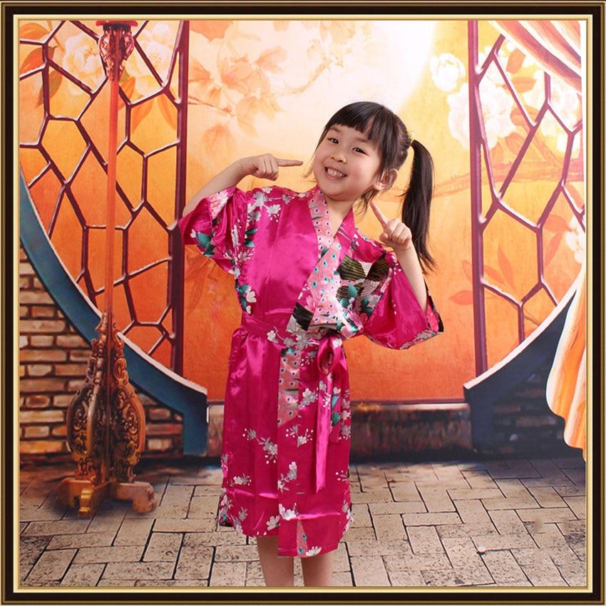 90-140cm Princess Girls Children Japanese Kimono Dress Bathing Robe Kids Girls Sleepwear Pajamas Yukata Gown with Belt