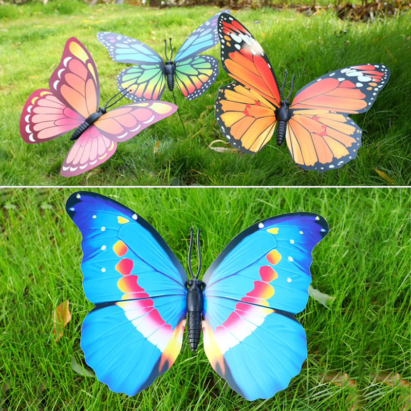 1pc 30CM*40CM Colorful Fairy Butterfly On Stick Ornament Home Garden Vase Lawn Art Craft Decor