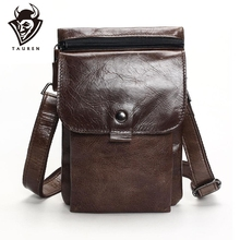 Tauren Genuine Leather Small Bags Men Leather Belt Waist Pack Messenger Bags Phone Pouch Fanny Pack Crossbody Bag