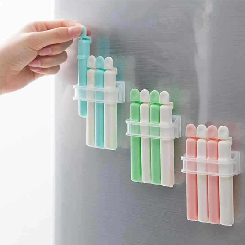 4pcs Suction Cup Food Storage Bag Snack Milk Powder Sealing Clips Sealer Plastic Bag Clips Kitchen Tools