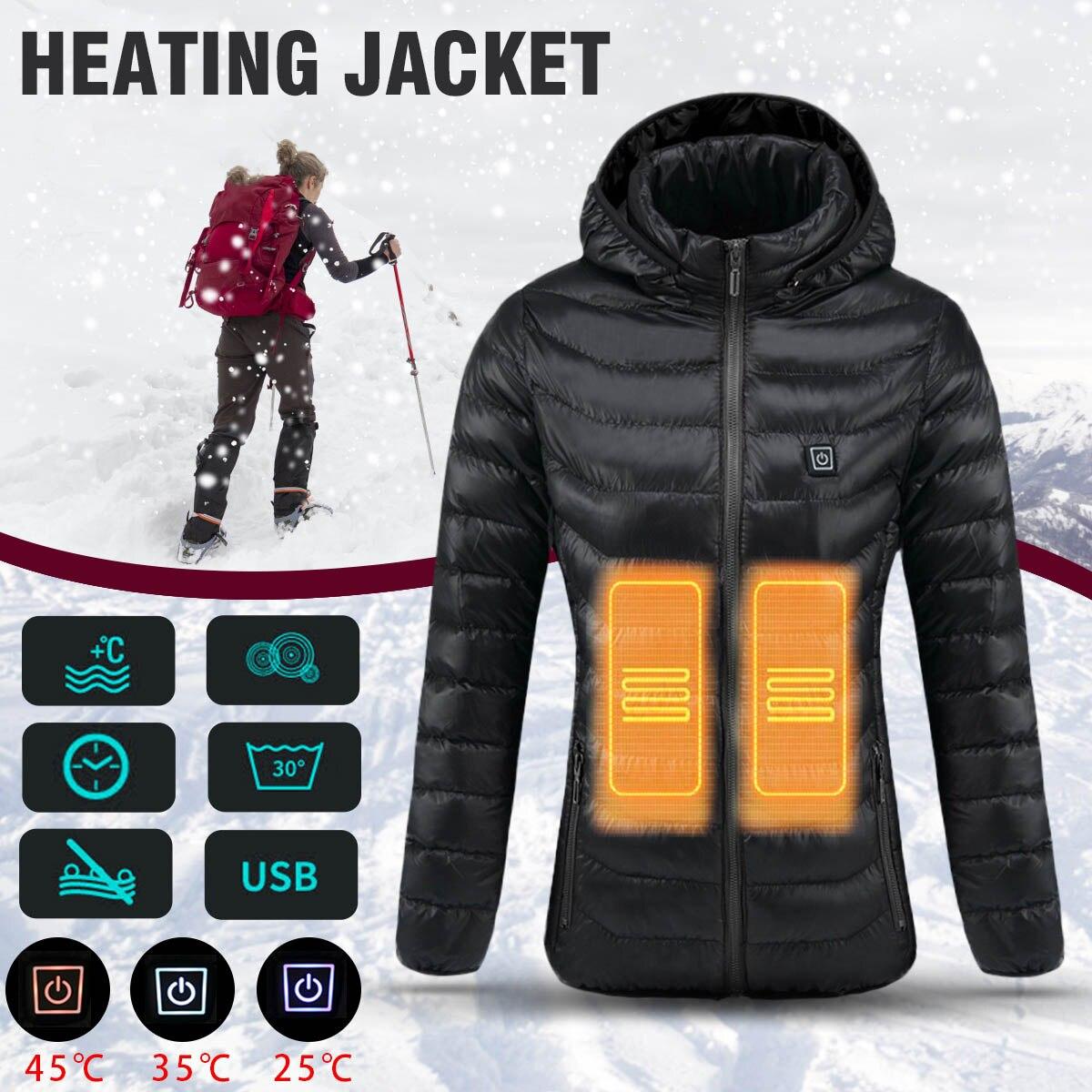 Для женщин с подогревом Детская безопасность куртка зима термальность Теплый капюшоном нагрева костюмы USB постоянная температура водонепр...