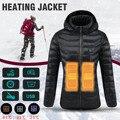 Las mujeres caliente chaqueta de seguridad térmica de invierno cálido con capucha ropa calefacción USB temperatura constante abrigo impermeable