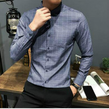 2019 New Cotton Plaid Shirt Casual Long Sleeve Fashion Youth Trend Korean Slim Mens Handsome Tops Best Thin Striped Gray Blue