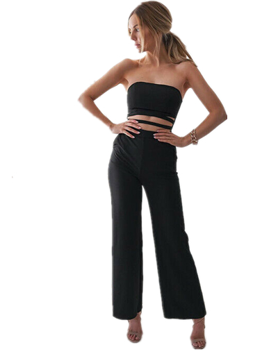 Women Sexy shoulder OL jumpsuit wrapped chest Bodycon Slim Exposed Abdominal Romper Ladies Summer Fashion 2019 New in Jumpsuits from Women 39 s Clothing
