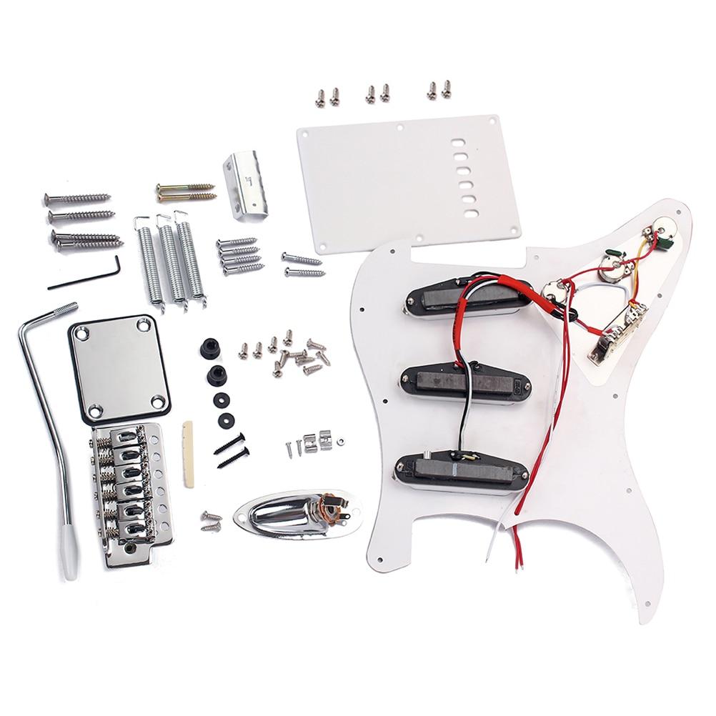 1 PC bricolage Kit de guitare électrique accessoires complets guitare ST Style Kit ensemble avec Pickguard pont système matériel vis couverture arrière