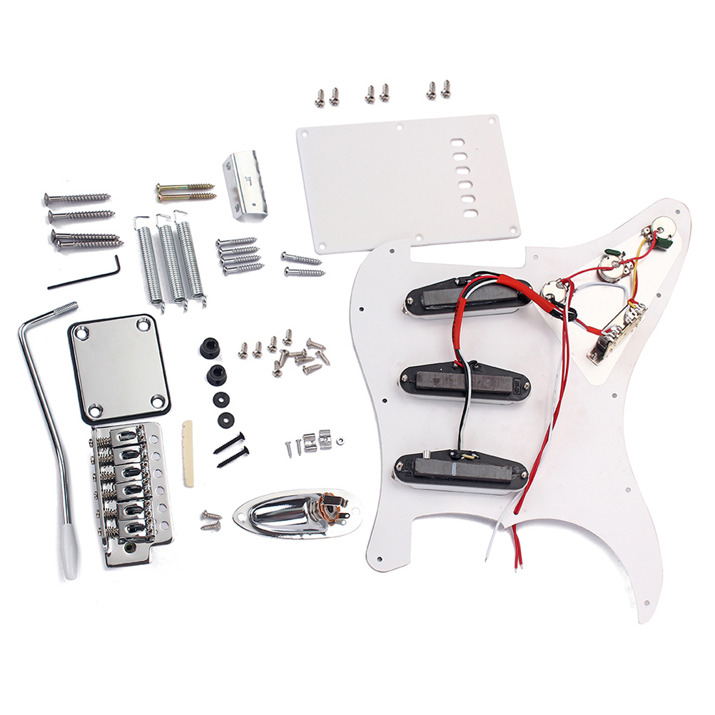 1PC DIY Electric Guitar Kit Full Accessories Guitar ST Style Kit Set with Pickguard Bridge System Hardware Screws Back Cover1PC DIY Electric Guitar Kit Full Accessories Guitar ST Style Kit Set with Pickguard Bridge System Hardware Screws Back Cover