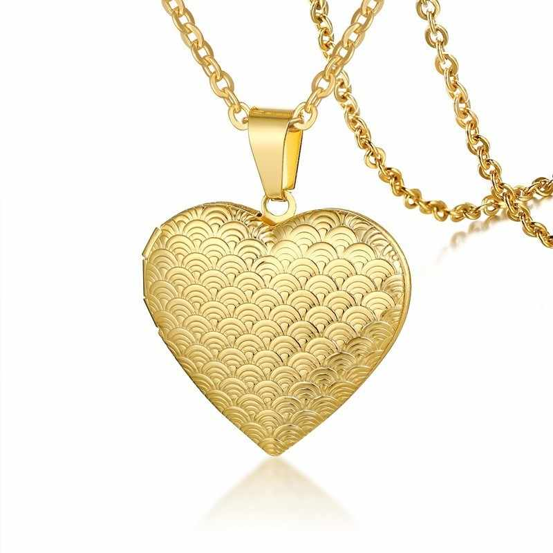 Vnox النساء قلادة مدلاة بشكل قلب الفولاذ المقاوم للصدأ إطار صور الذاكرة رومانسية الحب قلادة للإناث وعد تذكار هدية