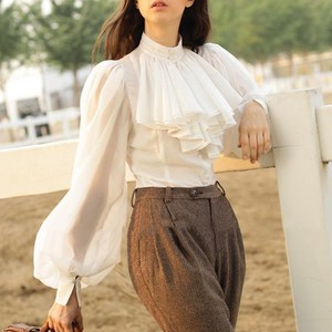 Image 2 - TWOTWINSTYLE Chiffon Shirts Blouse Women Stand Collar Lantern Long Sleeve Tops Female Elegant Fashion Clothes 2019 Spring