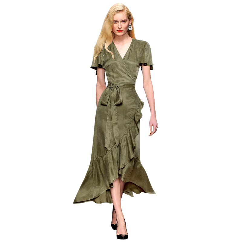 elegant woman party bohemian dresses military green casual woman summer dresses v neck short sleeves belt