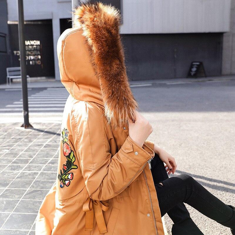 Manteau Feminina Col Green Bean Coton Parka Longue Casual Femmes Down Cheveux Rembourré J251 Broderie 2018 Mi Black Vêtements caramel Hiver Veste Grand light Femme q6X1p