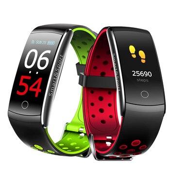 Pulsera de Fitness Q8S banda inteligente de frecuencia cardíaca banda de presión arterial para dormir monitor, seguidor Fitness IP68 pantalla a Color impermeable Watc