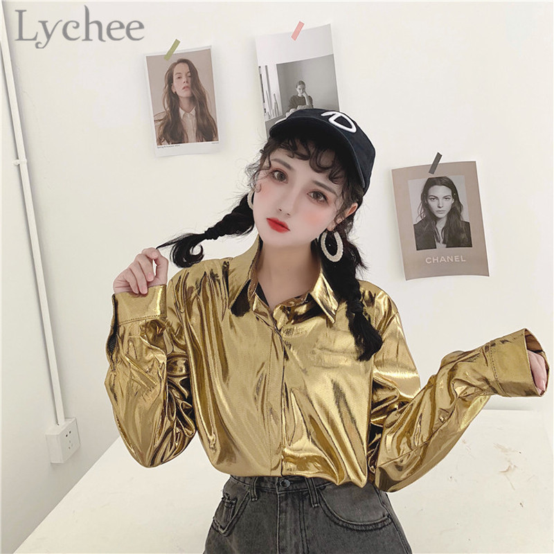 Lychee High Street Shiny Solid Color Women   Blouse     Shirt   Turn Down Collar Long Sleeve Casual Loose Female   Blouse   Top