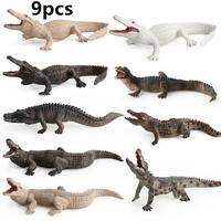 9Pcs Kids Simulate Crocodilian Shape Toy Home Decoration Wild Animal Model Simulation Crocodile Children Toys