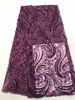 Luxury Beaded Embroidered Tulle Lace Fabric High Quality 2019 African Cord French Lace Fabric With Sequins For Party Dress CDF-1