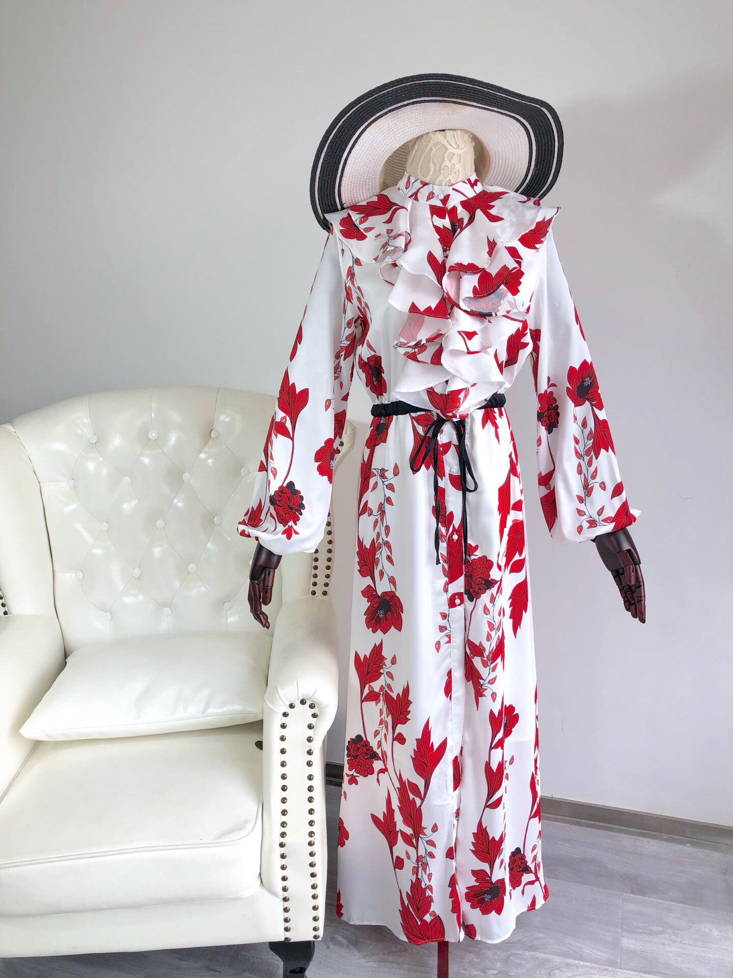 2019 New Floral Flounces Are Long and Stylish Fashion Dresses For Women Free Shipping