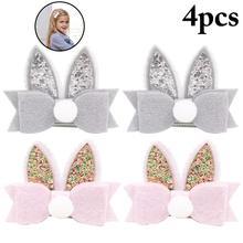 4PCS Easter Bunny Ear Felt Child Hairpin Hair Ball Headdress Kids Clip Cute Bowknot Pin Barrette