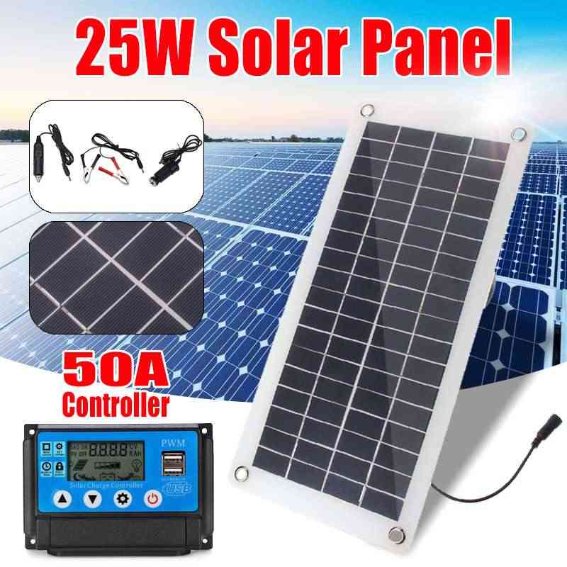 25W Solar Panel 12v/5v+Solar Charge Controller 2 USB Power Bank Board External Battery Charging Solar Cell+USB Car Charger