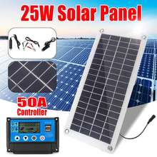 25 w painel solar 12v/5v + controlador de carga solar 2 usb placa de banco energia bateria externa carregamento flexível à prova dwaterproof água