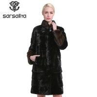 Sarsallya натурального меха шубы мода длинные подлинной пальто норковая шуба натуральный мех норки пальто Толстый Теплый мандарин воротник ШУБ