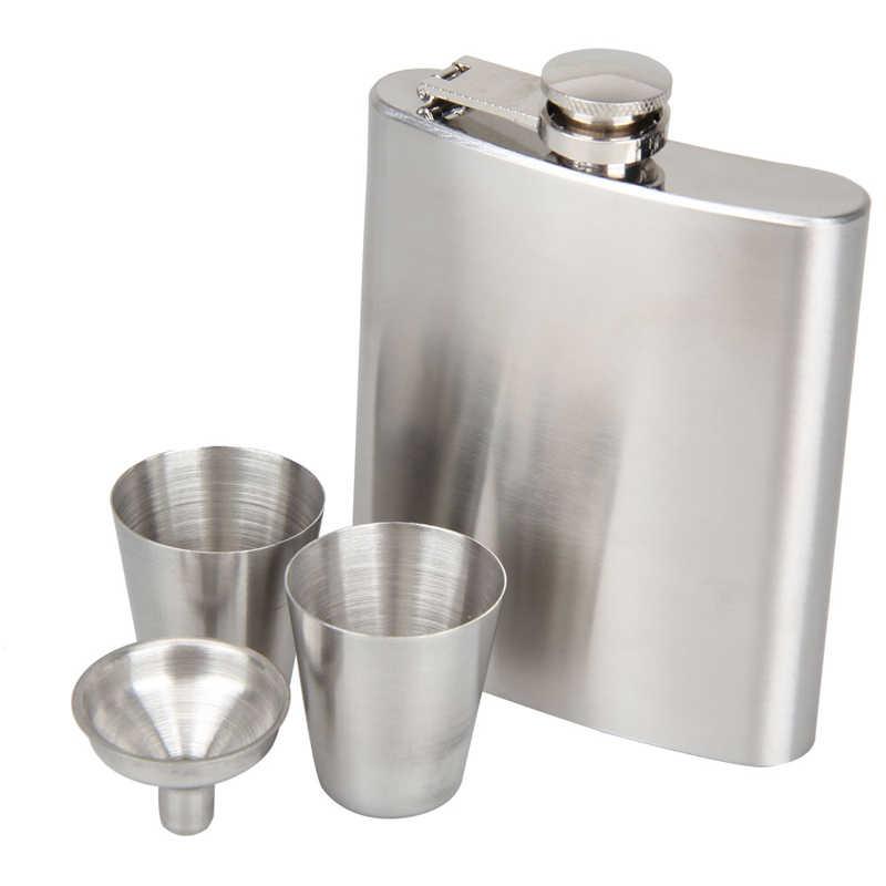 7 オンスヒップフラスコステンレス鋼ワインボトルウイスキー容器ポケットアルコールヒップフラスコポットスクリューキャップ + 漏斗箸置きセット