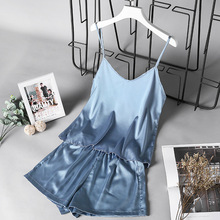 Summer Thin Sleep Lounge Women Pajamas Sets Sexy Satin Sleepwear Pyjama Femme Flower For Spaghetti Strap