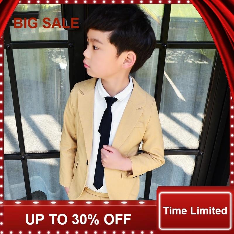 Spring Baby Boys Beige Suit for Wedding Brand Design 2Pcs Blazer Clothing Set Children School