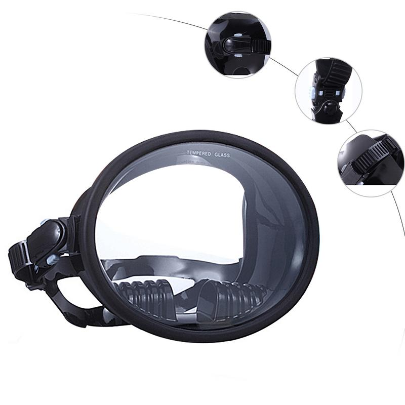 Durable Aquatics Scuba Diving Snorkeling Panoramic Wide View Diving Mask  Frameless Mask Tempered Glass Diving Goggle Mask