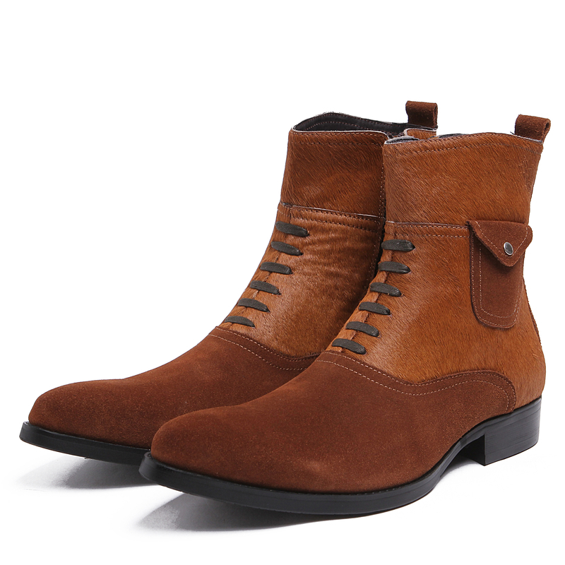 Fashion Black / Brown Tan Mens Ankle Boots Genuine Leather Casual Boots Mens Winter Outdoor Shoes With HorsehairFashion Black / Brown Tan Mens Ankle Boots Genuine Leather Casual Boots Mens Winter Outdoor Shoes With Horsehair
