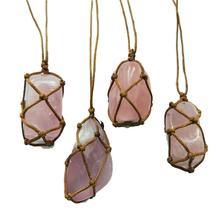 цена на Natural Handmade Pink Crystal Stone Pendant Quartz Crystal Pendant Healing Stone Crafts Necklace Fast Delivery
