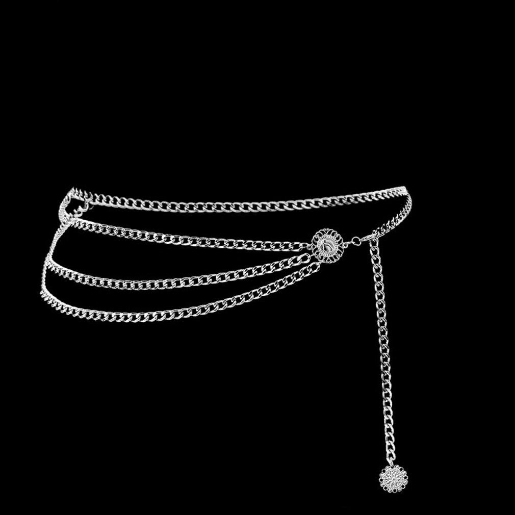 Hirigin 2019 New Women Lady Sexy Silver Waist Back Waist  Shiny Sequins Chain Belly Lower Body Accessory Gift Beach Metal Waist