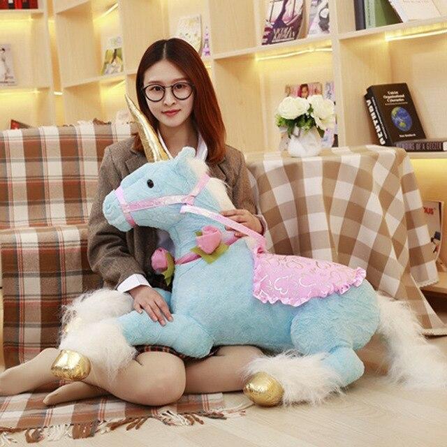 90cm Big Size Unicorn Soft Toy Horse Doll Simulation Animal Toys  Children Photo Props Holiday Birthday Gift