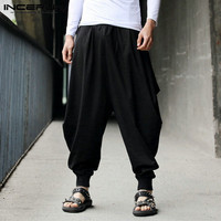 INCERUN Japanese Style Men Harem Pants Baggy Wide Legs Pants Male Drop Crotch Pants Casual Loose Fitness Trousers Pantalon