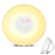 1pc Touch Sensing Digital Alarm Clock Sunrise Sunset LED Wake Up Lights With FM Radio Colorful Light Snooze Mode Nature Sound L2 wake up light sunrise simulation alarm clock with sunset