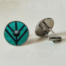Mens Cufflinks Glass Business Shirt Gifts Handmade Personality Photo Viking shield