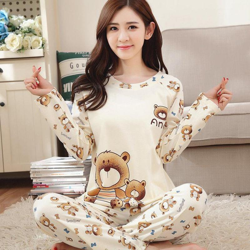 MISSKY Home Winter And Autumn Comfortable Cotton Fabric Cartoon Cute Animal Long-Sleeved   Pajamas     Set   Home Service   Set
